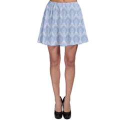 Damask Light Blue Skater Skirt