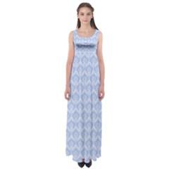 Damask Light Blue Empire Waist Maxi Dress