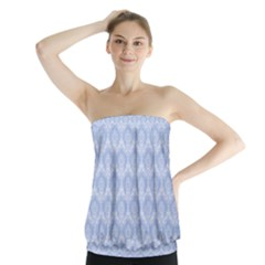 Damask Light Blue Strapless Top