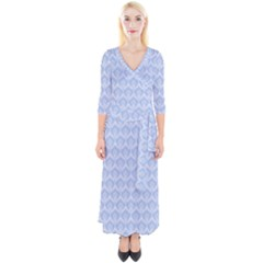 Damask Light Blue Quarter Sleeve Wrap Maxi Dress