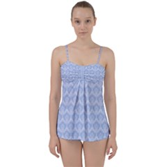 Damask Light Blue Babydoll Tankini Set