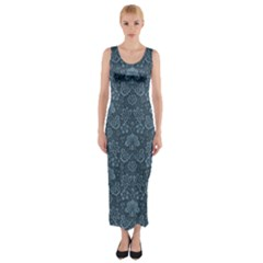 Damask Blue Fitted Maxi Dress