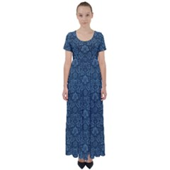 Damask Blue High Waist Short Sleeve Maxi Dress