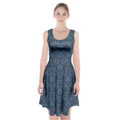 Damask Blue Racerback Midi Dress