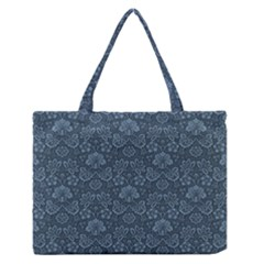 Damask Blue Zipper Medium Tote Bag