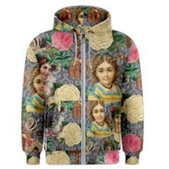 Damask Religious Victorian Grey Men s Zipper Hoodie