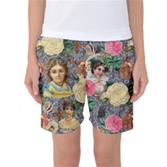 Damask Religious Victorian Grey Women s Basketball Shorts