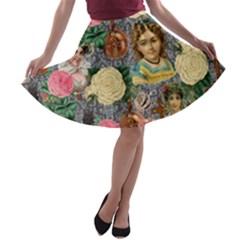 Damask Religious Victorian Grey A Line Skater Skirt