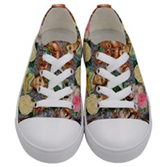 Damask Religious Victorian Grey Kids  Low Top Canvas Sneakers