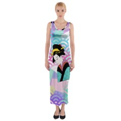 Japanese Abstract Fitted Maxi Dress