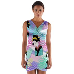 Japanese Abstract Wrap Front Bodycon Dress
