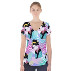 Japanese Abstract Short Sleeve Front Detail Top