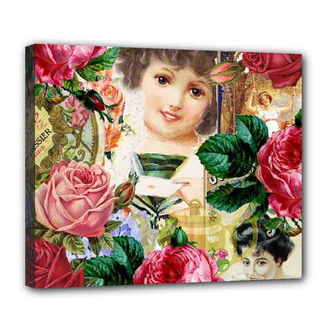 Little Girl Victorian Collage Deluxe Canvas 24  X 20