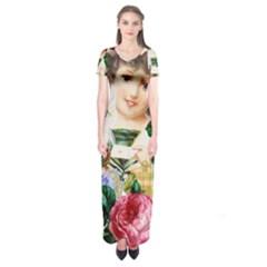 Little Girl Victorian Collage Short Sleeve Maxi Dress