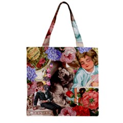 Victorian Collage Zipper Grocery Tote Bag