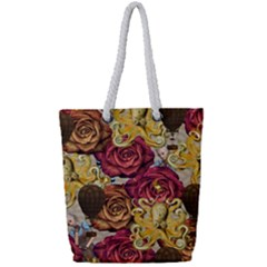Octopus Floral Full Print Rope Handle Tote (small)