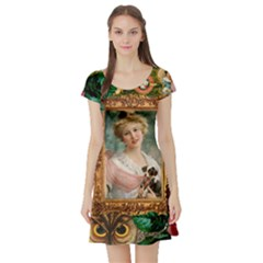 Victorian Collage Of Woman Short Sleeve Skater Dress