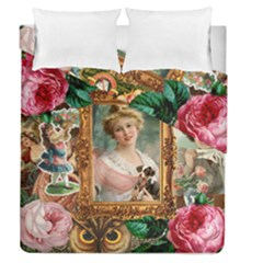 Victorian Collage Of Woman Duvet Cover Double Side (queen Size)