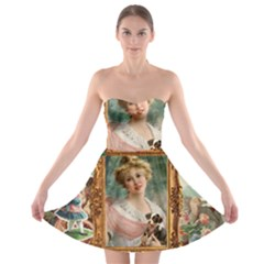 Victorian Collage Of Woman Strapless Bra Top Dress