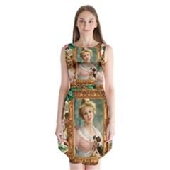 Victorian Collage Of Woman Sleeveless Chiffon Dress