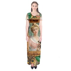 Victorian Collage Of Woman Short Sleeve Maxi Dress