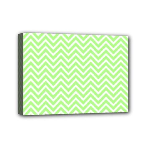 Green Chevron Mini Canvas 7  X 5