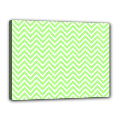 Green Chevron Canvas 16  X 12