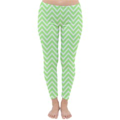 Green Chevron Classic Winter Leggings