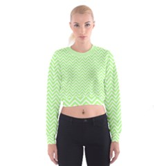 Green Chevron Cropped Sweatshirt