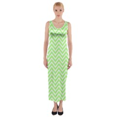 Green Chevron Fitted Maxi Dress