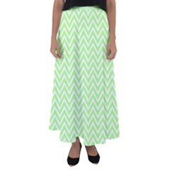 Green Chevron Flared Maxi Skirt