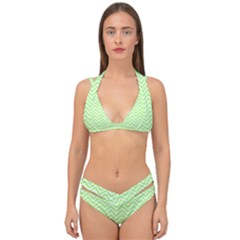 Green Chevron Double Strap Halter Bikini Set