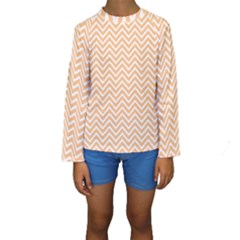 Orange Chevron Kids  Long Sleeve Swimwear