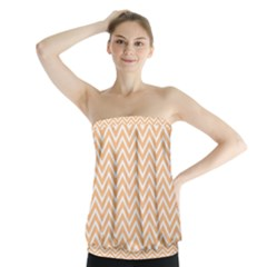 Orange Chevron Strapless Top