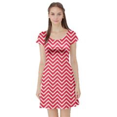 Red Chevron Short Sleeve Skater Dress