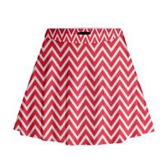 Red Chevron Mini Flare Skirt