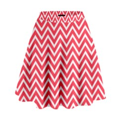 Red Chevron High Waist Skirt