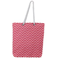 Red Chevron Full Print Rope Handle Tote (large)
