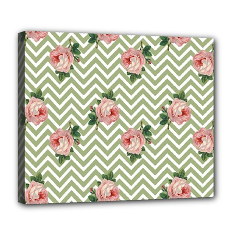 Green Chevron Rose Deluxe Canvas 24  X 20