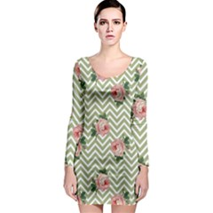 Green Chevron Rose Long Sleeve Bodycon Dress