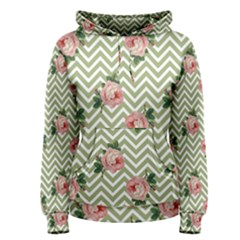 Green Chevron Rose Women s Pullover Hoodie