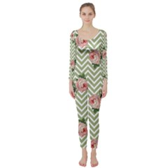 Green Chevron Rose Long Sleeve Catsuit
