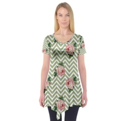 Green Chevron Rose Short Sleeve Tunic