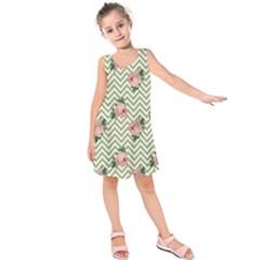Green Chevron Rose Kids  Sleeveless Dress