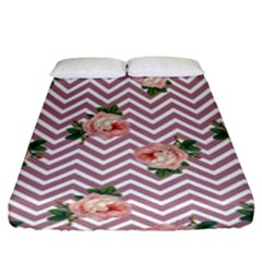Violet Chevron Rose Fitted Sheet (king Size)