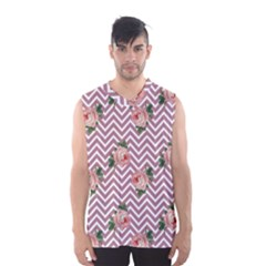 Violet Chevron Rose Men s Basketball Tank Top