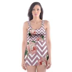 Violet Chevron Rose Skater Dress Swimsuit