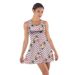 Violet Chevron Rose Cotton Racerback Dress