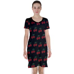 Cherries Black Short Sleeve Nightdress