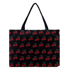 Cherries Black Medium Tote Bag